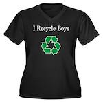 I Recycle Boys Women's Plus Size V-Neck Dark T-Shi