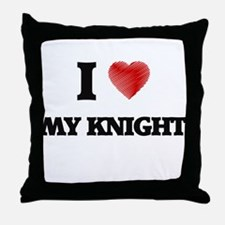 I Love My Knight Throw Pillow