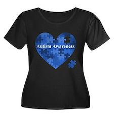 Autism Awareness Heart Plus Size T-Shirt