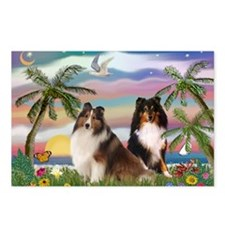 Palms & Sheltie Pair Postcards (Package of 8)