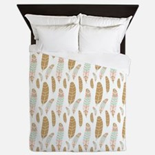 Colorful Feathers Pattern Queen Duvet