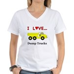 I Love Dump Trucks Women's V-Neck T-Shirt