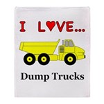 I Love Dump Trucks Throw Blanket
