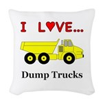I Love Dump Trucks Woven Throw Pillow