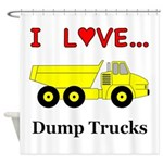 I Love Dump Trucks Shower Curtain
