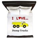 I Love Dump Trucks King Duvet