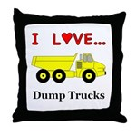 I Love Dump Trucks Throw Pillow