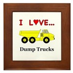 I Love Dump Trucks Framed Tile
