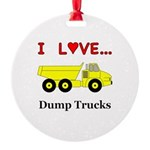 I Love Dump Trucks Round Ornament