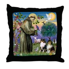 Cute Sable and white shetland sheepdog Throw Pillow