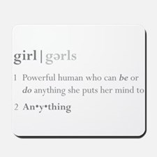Girls Defined Grey Font Mousepad