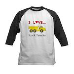 I Love Rock Trucks Kids Baseball Jersey