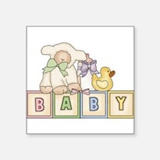 Baby Blocks Lamb Rectangle Sticker