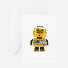 Surprised toy robot Greeting Cards