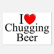 """I Love (Heart) Chugging Beer"" Postcards (Package"