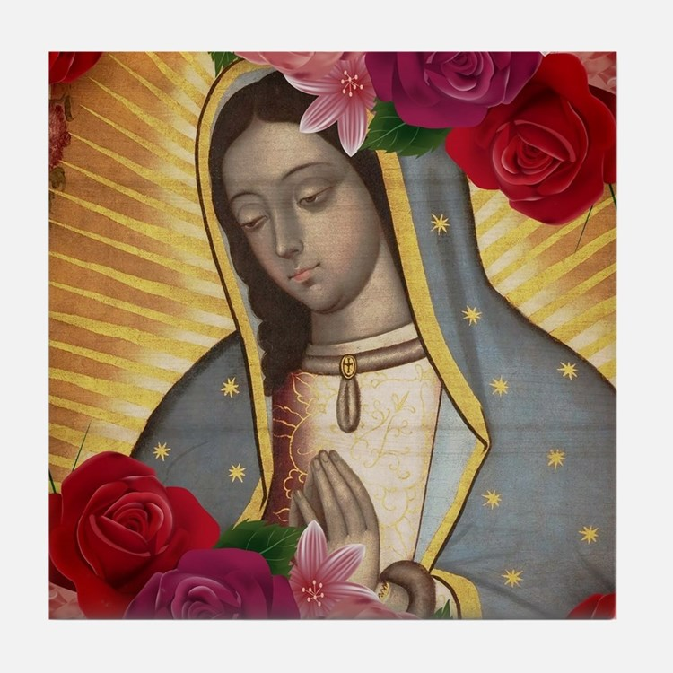 Virgin of Guadalupe with Roses Tile Coaster