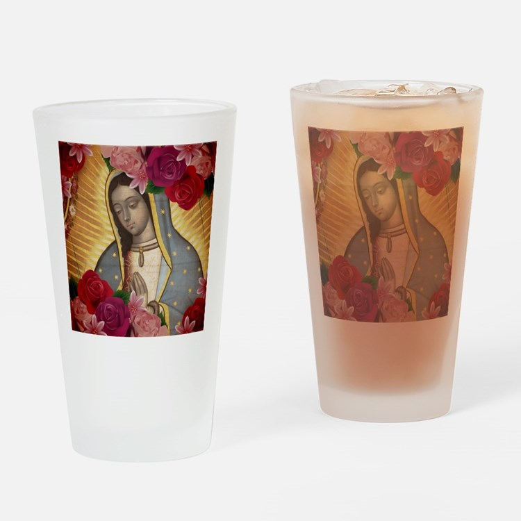Virgin of Guadalupe with Roses Drinking Glass