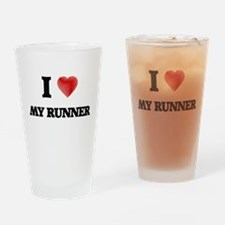 I Love My Runner Drinking Glass