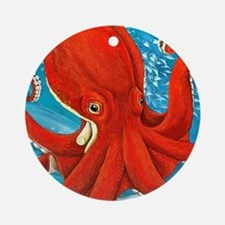 Octopus Painting Round Ornament
