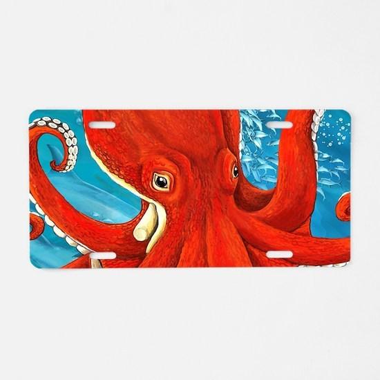 Octopus Painting Aluminum License Plate