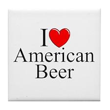 """I Love (Heart) American Beer"" Tile Coaster"