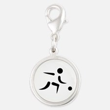 Bowling player icon Silver Round Charm