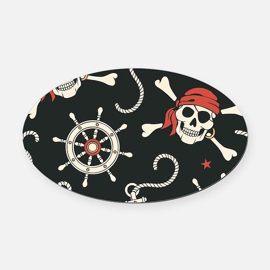 Pirate Skulls Oval Car Magnet