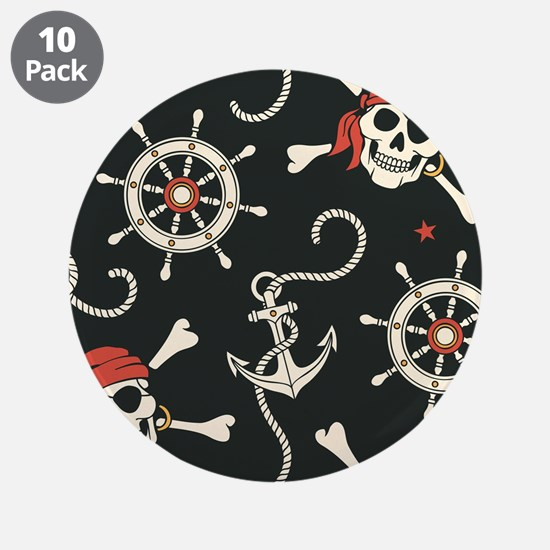 "Pirate Skulls 3.5"" Button (10 pack)"