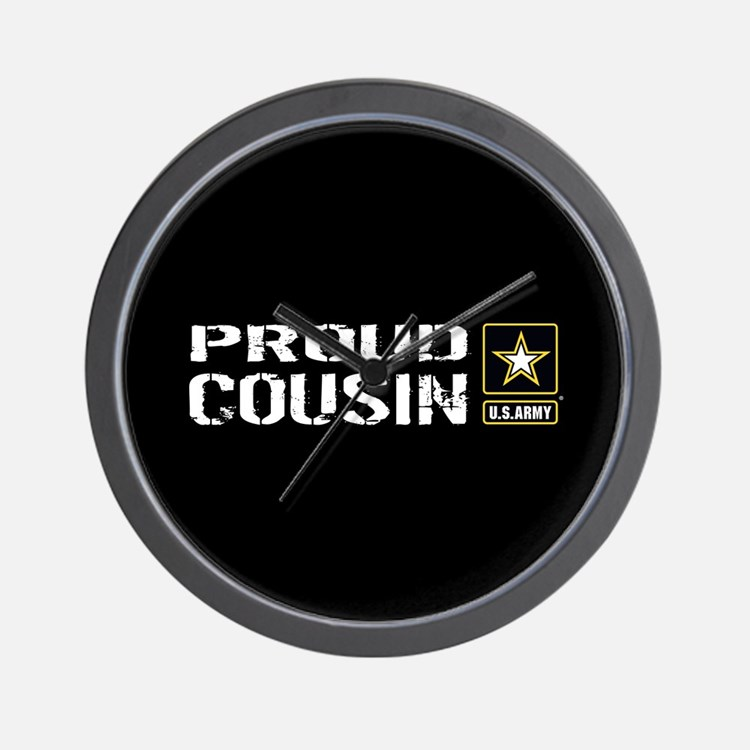 U.S. Army: Proud Cousin (Black) Wall Clock