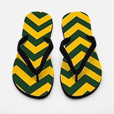 Chevron Pattern: Green & Yellow Zig Zag Flip Flops