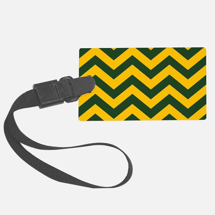 Chevron Pattern: Green & Yellow Luggage Tag