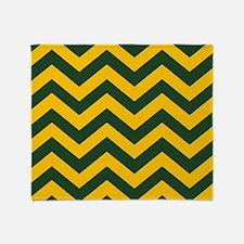 Chevron Pattern: Green & Yellow Zig Throw Blanket