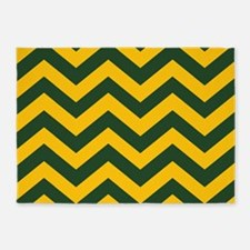 Chevron Pattern: Green & Yellow Zig 5'x7'Area Rug