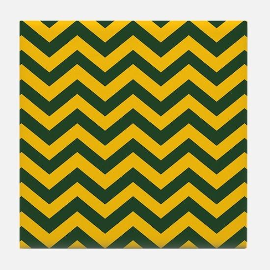 Chevron Pattern: Green & Yellow Zig Z Tile Coaster