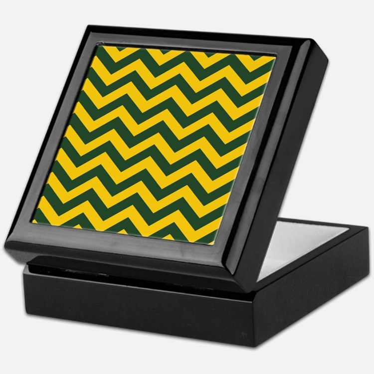 Chevron Pattern: Green & Yellow Zig Z Keepsake Box