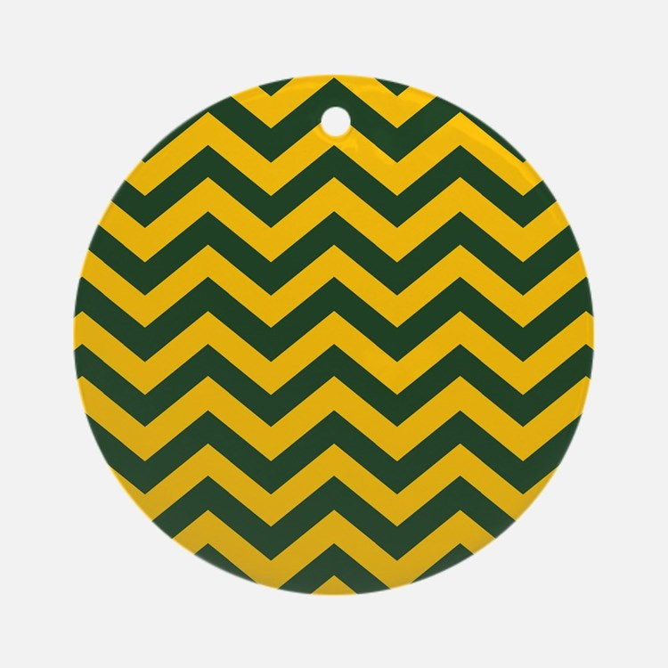 Chevron Pattern: Green & Yellow Zig Round Ornament