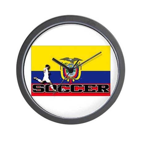 Ecuador Flag Soccer Wall Clock