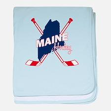 Maine Hockey baby blanket