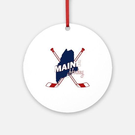 Maine Hockey Round Ornament