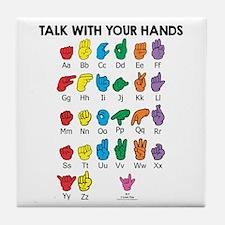 Learn Sign Language Tile Coaster