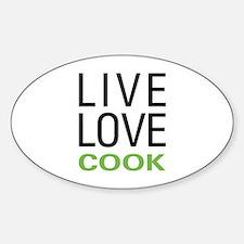 Live Love Cook Sticker (Oval)