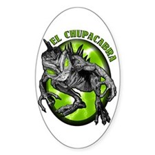 Chupacabra with Background 4 Oval Decal