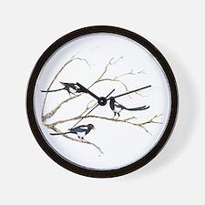 Watercolor Magpie Bird Family Wall Clock
