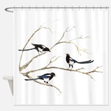 Watercolor Magpie Bird Family Shower Curtain