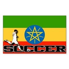 Ethiopia Flag Soccer Rectangle Decal
