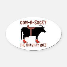 Cow A Socky Hillbilly Bike Oval Car Magnet