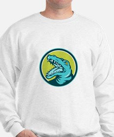 Angry Alligator Head Snout Circle Retro Sweatshirt