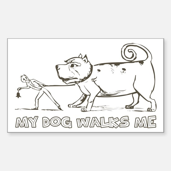 Funny Dog Walker Rectangle Decal