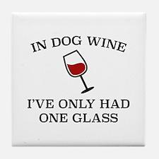 In Dog Wine Tile Coaster