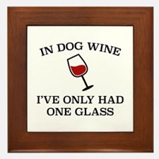In Dog Wine Framed Tile